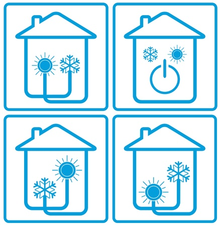 symbol conditioner in home with sun, snowflake and house silhouette - climate control 免版税图像 - 17818731
