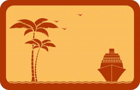 yellow travel background with ship, palm and seagull   Illustration