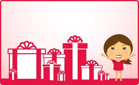 background with cartoon girl and holiday gift Stock Vector - 18045409