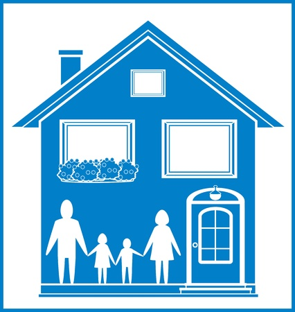 blue sign with home and family - happy family symbol   Stock Vector - 18045410