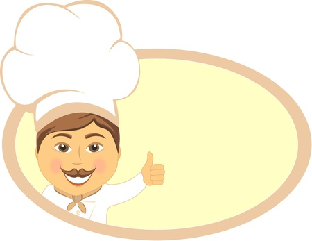 cheerful cartoon cook showing thumb up and smile   Vector