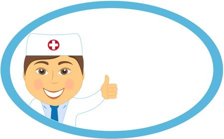 médecin sourire caricature montrant le pouce en place dans le châssis Vecteurs