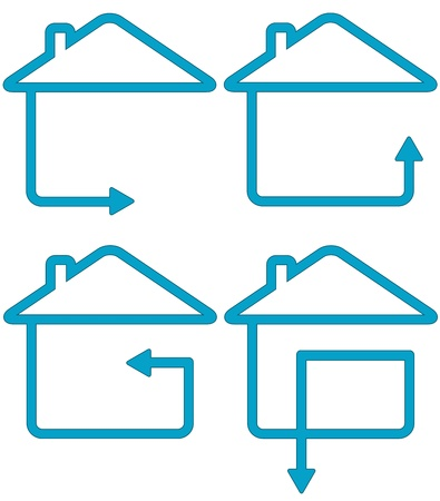 set icon with house silhouette and move arrow   Vector
