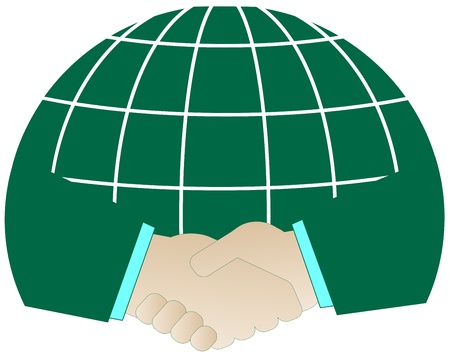 isolated icon with successful handshake and green planet   Vector