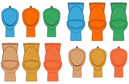 set colorful isolated toilet and urinal   Vector