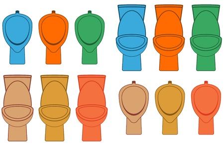 piss: set toilette isolato colorato e orinatoio Vettoriali