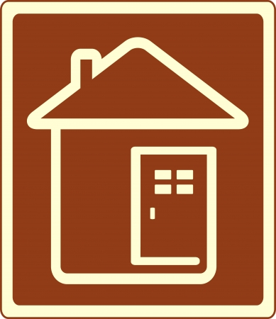 accommodation: icon with house and door silhouette   Illustration