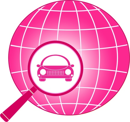 spares: pink icon with planet, magnifier and car from woman   Illustration