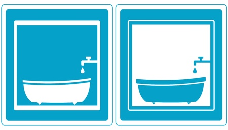 set blue bathroom symbol icons with tap, tub and bathtub   Vector
