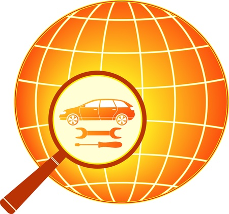 spares: sign with car, wrench and screwdriver in magnifier on planet silhouette