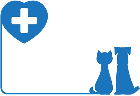 vet: blue abstract icon with dog, cat and heart   Illustration