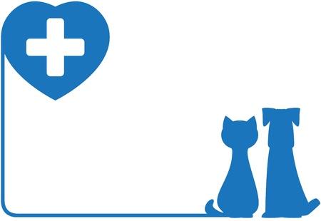 veterinario: icono azul abstracto con el perro, el gato y el coraz�n