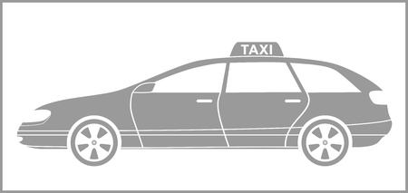 grey isolated modern taxi car silhouette Stock Vector - 18496847