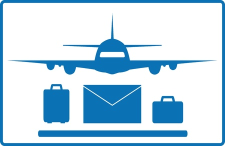 icon with plane, mail envelope and luggage bags Stock Vector - 18496832
