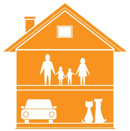 family isolated: isolated cottage symbol with house and happy family in home   Illustration