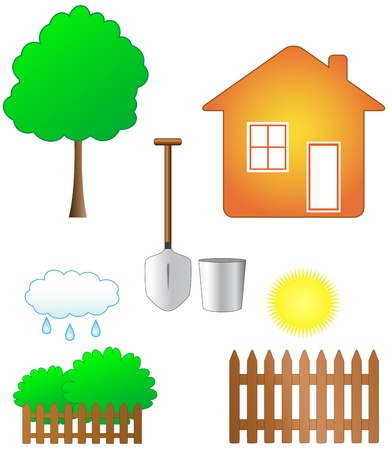 weeder: set isolated colorful garden objects   Illustration