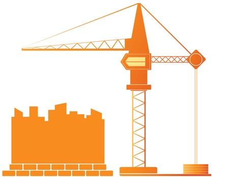 bouwkraan: achtergrond met bouwkraan en stadslandschap Stock Illustratie