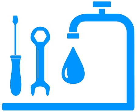 blue sign plumbing work with wrench screwdriver and tap and drop   Vector