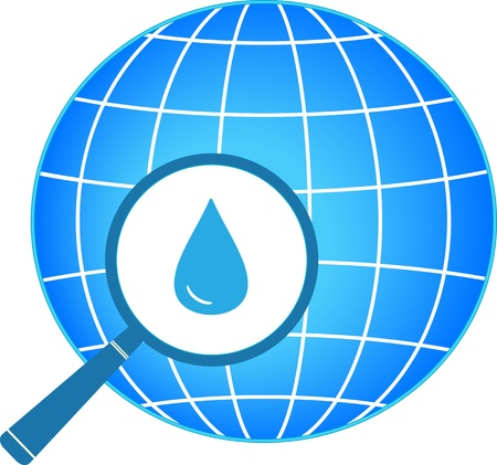 icon with blue planet, magnifier and drop silhouette   Ilustração