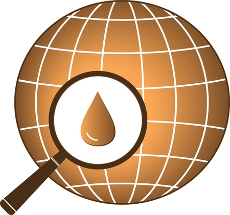 icon with planet and magnifier with petroleum drop Stock Vector - 18676917
