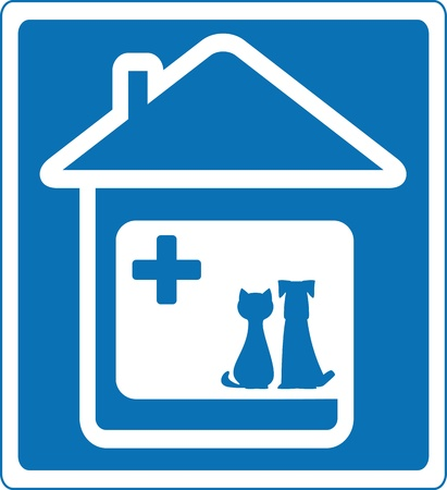 house cat: blue veterinary symbol with pet and home silhouette   Illustration