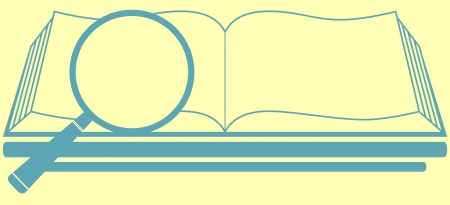 indoctrination: icon with book and magnifier on pale yellow background - search symbol