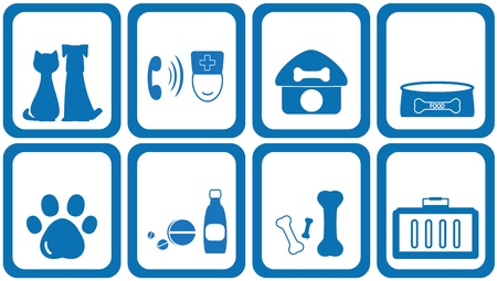 set blue icons goods with zoological products Illustration