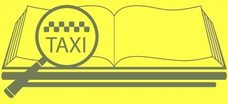 reference book: libro de referencia amarilla con la lupa y el s�mbolo de taxi