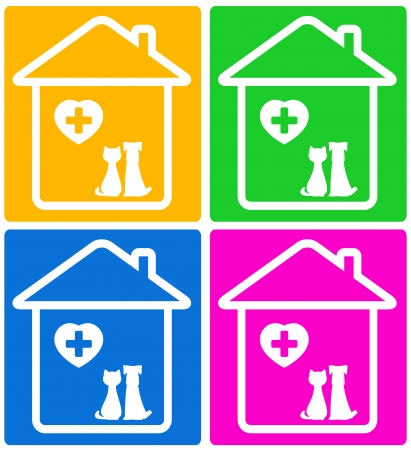 veterinary symbol: colorful set background for veterinary symbol with pet silhouette Illustration