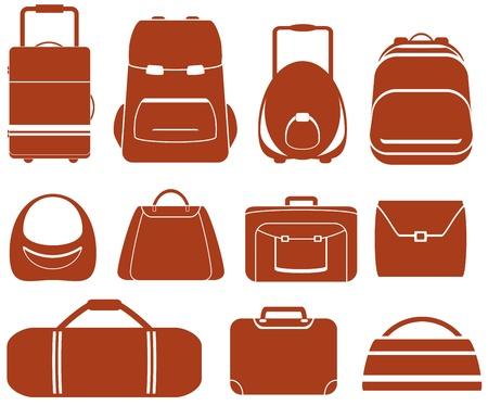 zaino: impostare molti bag isolato rosso per uomo o donna Vettoriali
