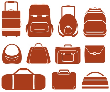 school backpack: set many red isolated bag for man or woman