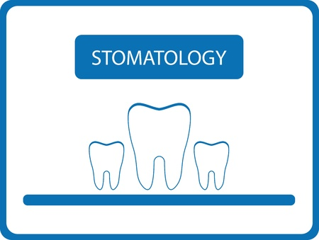 cavity braces: blue stomatology background with isolated tooth