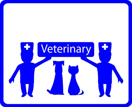 cat call: blue veterinary background with two doctor and pets