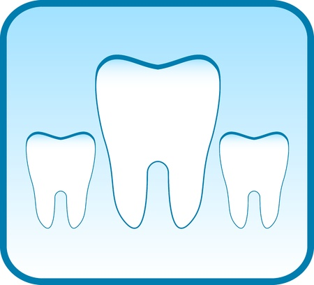 dental caries: blue icon with set tooth - dental clinic symbol