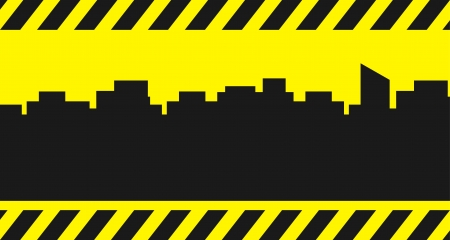 yellow building background with city and construction symbol - place for text Vector