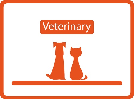 red veterinary background with pets - visiting card Vector