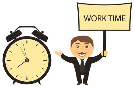 zakenman leider roept op tot werken met klok en karton