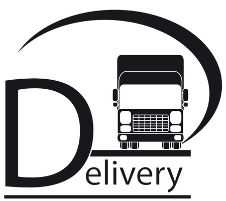 icon with delivery symbol - truck and place for text Vector Illustration
