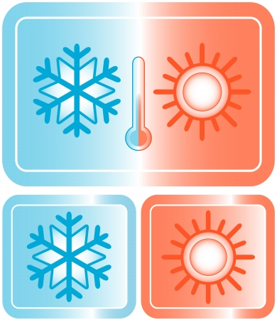 set button with snowflake, sun and thermometer silhouette Vector