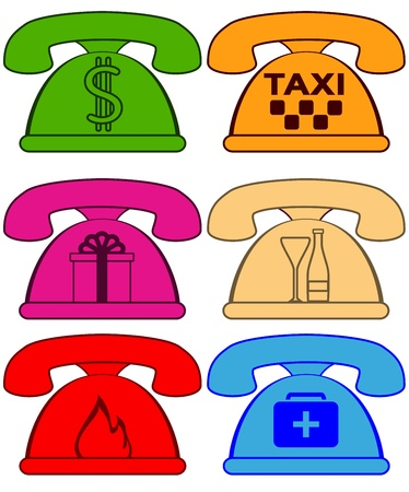 dialer: set colorful phones with symbol social services