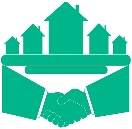 blue symbol - handshake with cottage and place for text Vector