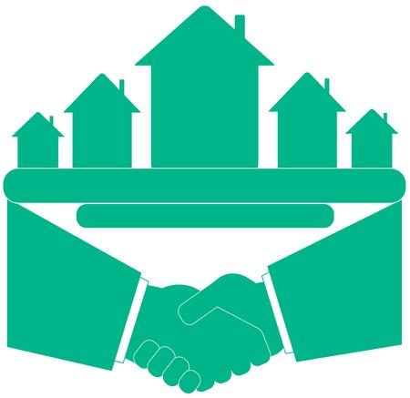 townhouses: s�mbolo azul - apret�n de manos con casa y el lugar de texto