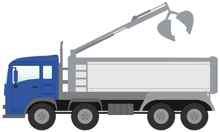 isolated modern bucket truck with blue cabin