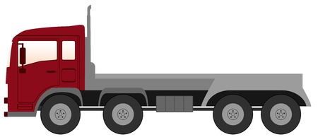 isolated modern empty truck with red cabin Vector