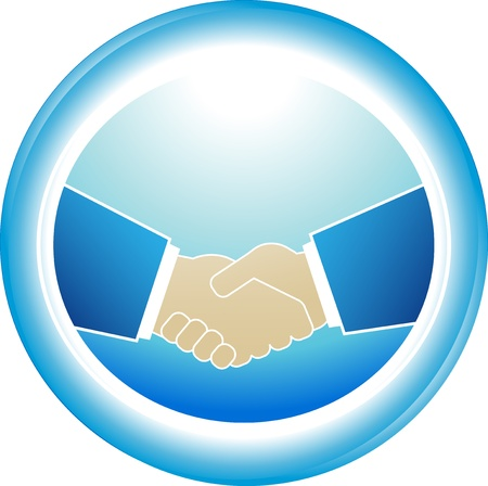 great success: blue symbol of reliability - successful partnership handshake