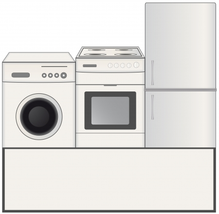 laundry machine: background with gas stove, washing machine and refrigerator