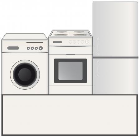 MAQUINA DE VAPOR: fondo con estufa de gas, lavadora y nevera Vectores