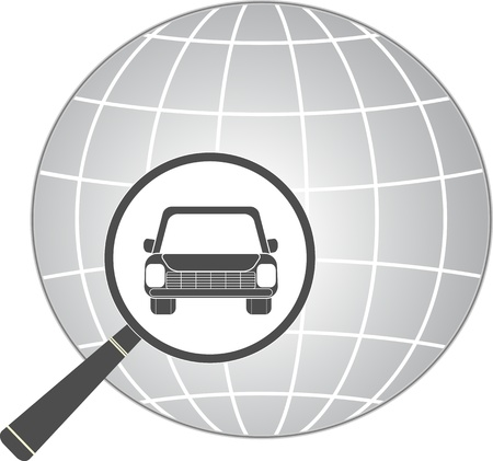 auto washing: icon with  car in magnifier on planet background