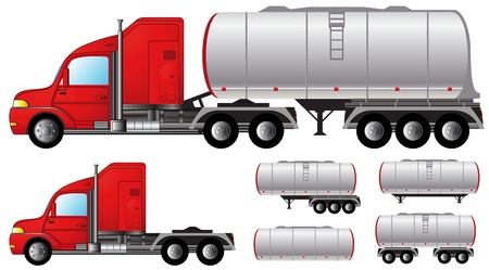 set isolated objects with tank truck and fuel tanks Иллюстрация