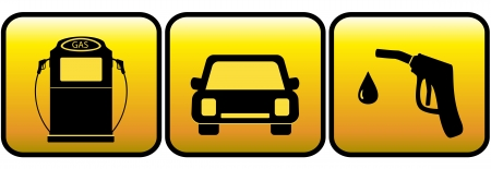 yellow set sign with car and close up of gas station Vector